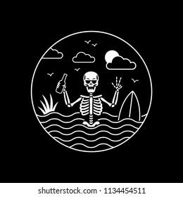 SKELETON SURFER CIRCLE BLACK BADGE