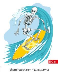 Skeleton surfer on the board ride the wave. Vector illustration.