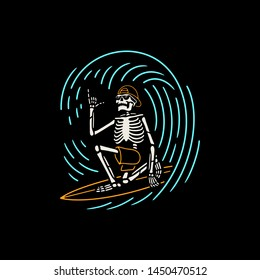 SKELETON SURFER ON THE WAVE COLOR BLACK BACKGROUND