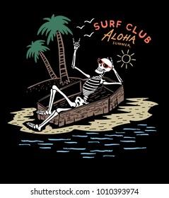skeleton surfer ,Summer T shirt Graphic Design