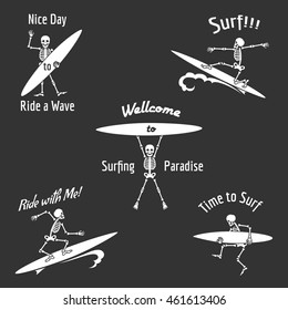 Skeleton surfer vector illustration. Vector skeleton with surfboard in Hawaii