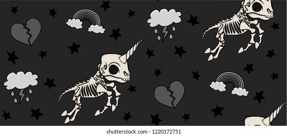 Skeleton Unicorn Repeat Pattern