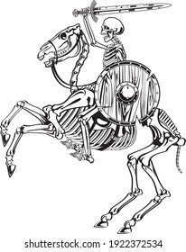 skeleton warrior with sword and shield riding skeleton horse
