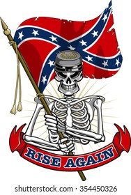 skeleton wearing confederate cap and flag, banner with text rise again