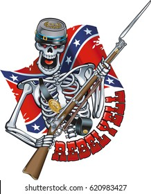 """skeleton wearing confederate military cap and musket gun, rebel flag and text """"rebel yell"""""""