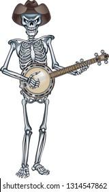 skeleton wearing cowboy hat playing banjo