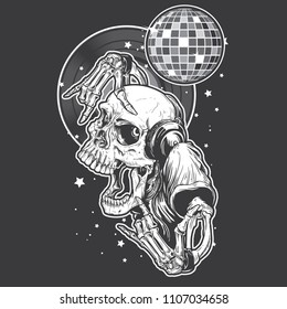 A Skeleton wearing headphones dancing with disco balls background