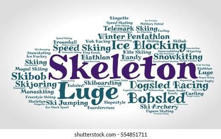 Skeleton. Word cloud, italic font, grey gradient background. Winter sport
