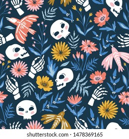 Skeletons of birds and people in the flowers. Vector holiday seamless pattern for Day of the dead or Halloween. Funny fabric design dia de los muertos. Vector illustration.