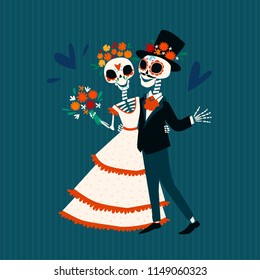 Skeletons of the bride and groom in love. Traditional mexican holiday Dia de Muertos. Vector flat cartoon illustration.