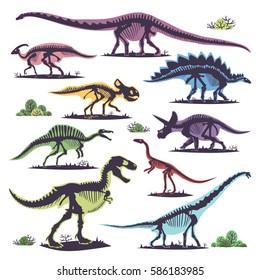 Skeletons of dinosaurs silhouettes set fossil bone tyrannosaurus prehistoric dinosaur animal and jurassic monster predator dino vector flat illustration.