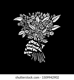 The skeleton's hand holds a bouquet of flowers. T-shirt design. Vector.