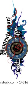 "The skeleton's hand points to the clock, talking about the fleetingness of life. Latin motto ""Remember death."""