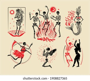 Skeletons` Logos Collection For T-shirt and Denim. Skeletons` Dance, the skeleton of the Venus, the Mermaid, the Angel, and the Angel of Death. Vector Illustration.