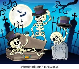 Skeletons near cemetery gate - eps10 vector illustration.