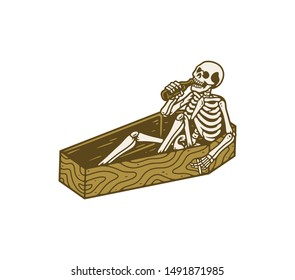 skeletons relax with a bottle of beer in a coffin. vector illustration
