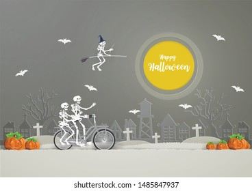 Skeletons riding a broom on  the sky and Skeletons riding bicycle on gray grass go to party .HAPPY HALLOWEEN concept.Vector and illustration style paper craft