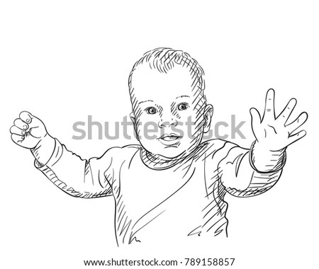 Sketch 10 Months Old Baby Boy Stock Vector Royalty Free 789158857