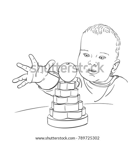 Sketch 10 Months Old Baby Boy Stock Vector Royalty Free 789725302
