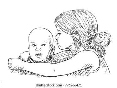 Sketch of 5 year old girl tenderly with love hugging 8 month old baby, Happy family moments, Hand drawn vector illustration with hatched shades