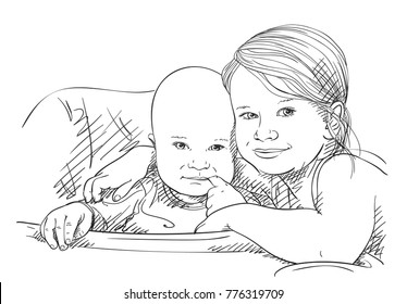 Sketch of 5 year old girl hugging 8 month old baby sucking his finger, Brother and sister happy family moments, Hand drawn vector illustration with hatched shades