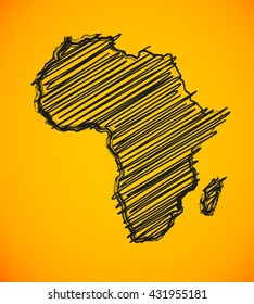 Sketch African continent Flat icon Image. Africa background Picture. Vector Silhouette