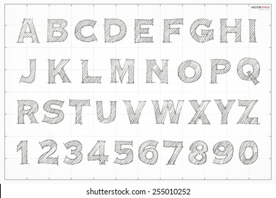 Sketch alphabet and number on blueprint background. Vector hand drawn and sketched font.