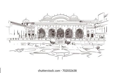 Indian Palace Gate Jaipur Rajasthan India Stock Photo (Edit Now) 1046194306