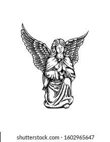 Sketch of Angel sculpture. Hand drawn design vector illustration