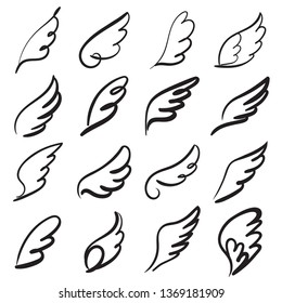 Sketch angel wings. Angel feather wing, bird tattoo silhouette. Linear fly winged angels, flying heaven hand drawn doodle vector icons
