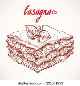 sketch with appetizing piece of lasagna with beef and basil leaves