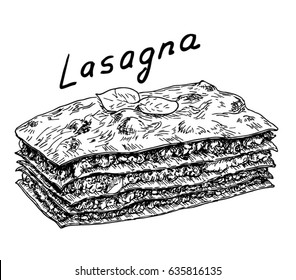 sketch with appetizing piece of lasagna. Lasagna Isolated on White Background. Traditional Italian Cuisine. Vector Illustration.