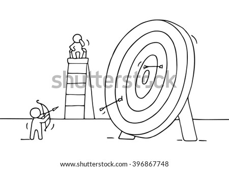 Sketch Archer Target Little People Doodle Stock Vector Royalty Free