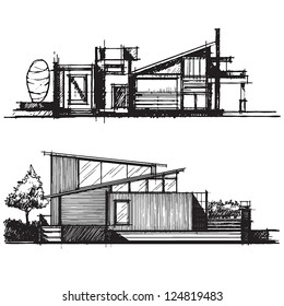 Sketch of architecture design vector