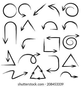 sketch arrow, doodle arrows set, arrows zen style