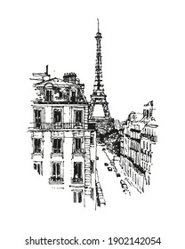 Sketch Art Architecture Draw Vector Illustration. Travel sketch of Eiffel tower. Isolated on white background.