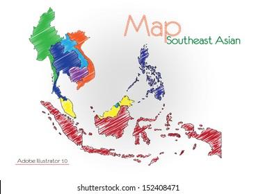 sketch asean Map, Vector illustration