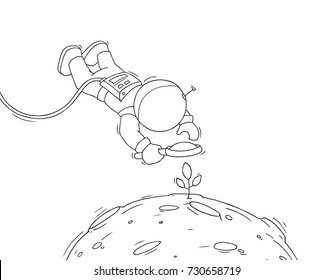 Sketch of astronaut with loupe. Doodle cute scene about space research. Hand drawn cartoon vector illustration for science design.