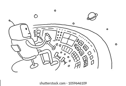 Sketch astronaut man robot alien character on flying saucer in space. Flying saucer driver wheel. Hand drawn black line vector illustration.