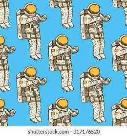 Sketch astronaut in vintage style, vector seamless pattern