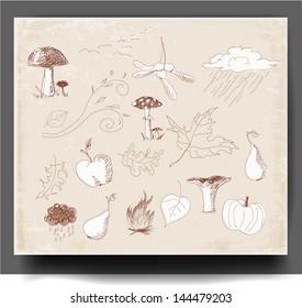 Sketch of autumn symbols in vintage style Vector illustration.