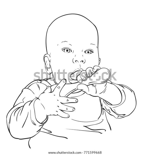 Sketch Baby Boy Ore Girl Open Stock Vector (Royalty Free) 771599668