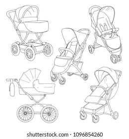 Sketch of a baby stroller and stroller for walks. Vector illustration