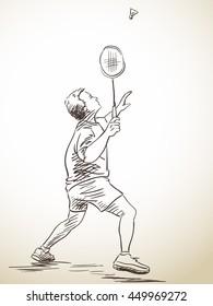 Sketch of badminton player, Hand drawn vector illustration