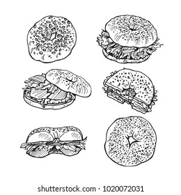 Sketch of bagels with lettuce, salmon, sesame. Helthy food. Vector set isolated on a white