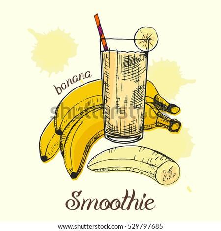 Sketch Banana Smoothie Glass Colorful Graphic Stock Vektorgrafik