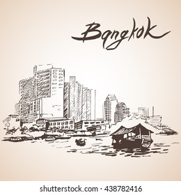 Sketch of Bangkok cityscape. Thailand. Isolated on white background