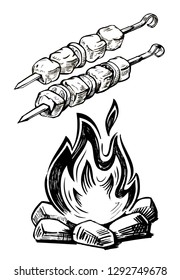 sketch of barbecue on skewer and bonfire