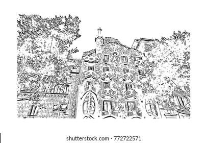 Sketch of Barcelona City, Spain in vector illustration.