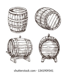 Sketch barrels. Whiskey oak casks. Wooden wine barrel in vintage engraving style. Bar, pub and brewery vector sign isolated